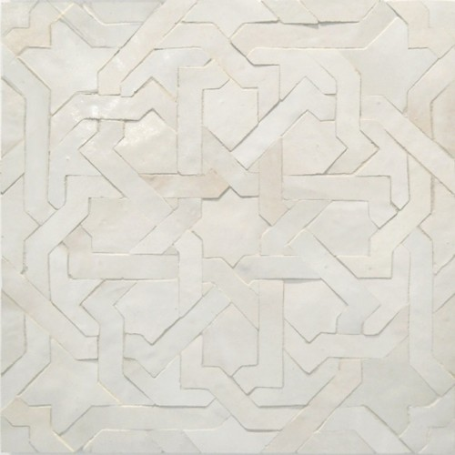 White Moroccan bathroom floor tile