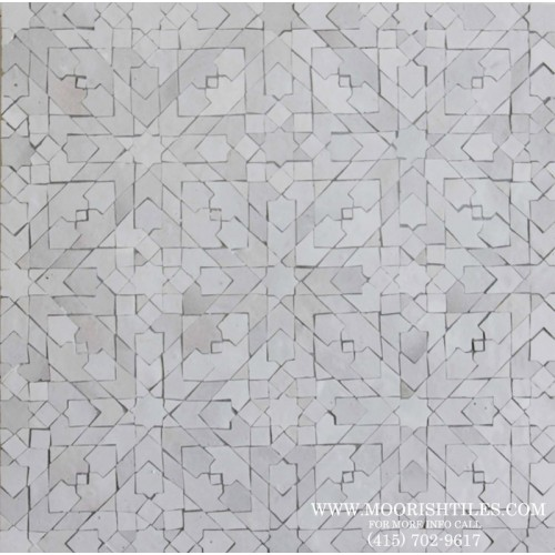 White Moorish bathroom floor tile