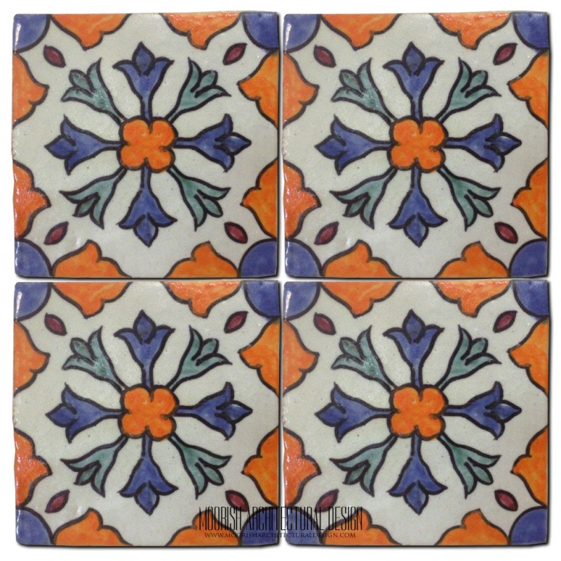 Hand painted ceramic tile