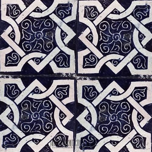 Mediterranean blue ceramic tile bathroom